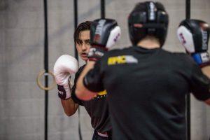 Kam sparring with friend Rakan Sabbah