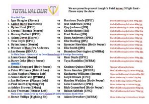 Saturday night's full fight card